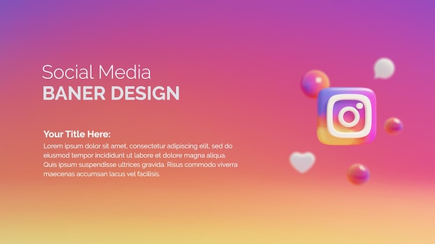 Значок логотипа instagram на кнопке 3d рендеринга фона