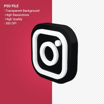 3d 렌더링 아이콘의 instagram 로고