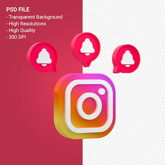 Логотип instagram в значке 3d-рендеринга