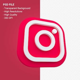分離された 3 d レンダリングで instagram のロゴ