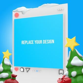 Instagram с рождеством 3d-рендеринг дизайн макета Premium Psd