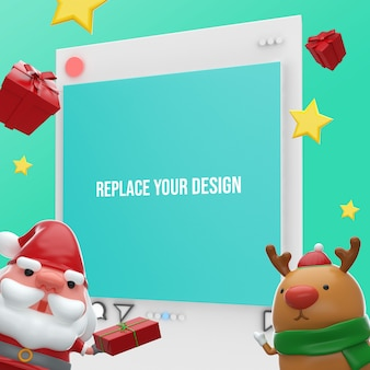 Instagram merry christmas 3d rendering mockup design