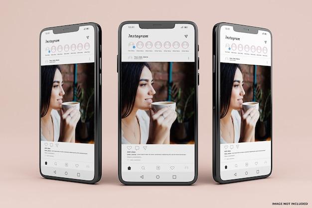 Instagram 모바일 인터페이스 모형 템플릿