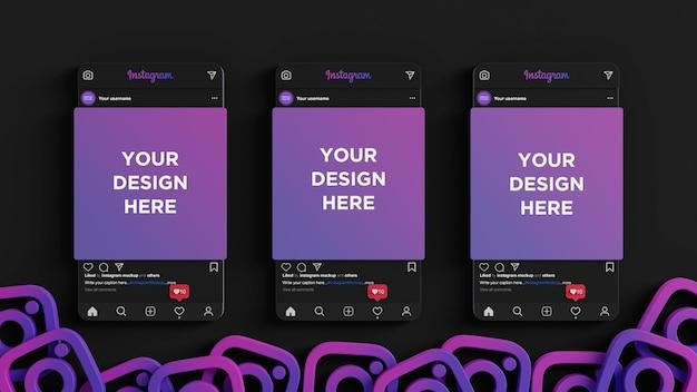 Instagram mockup dark mode social media banner 3d render