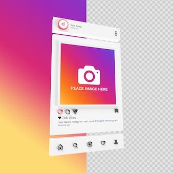 Мокап instagram в 3d изолированных рендерингах в социальных сетях