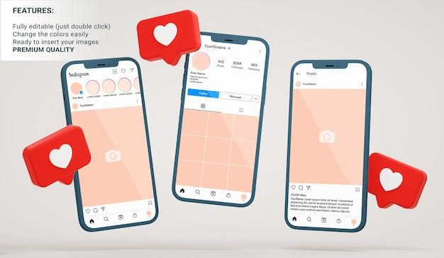 Инстаграм-макет интерфейса ленты, профиля и публикации в плавающих телефонах с похожими уведомлениями в 3d-рендеринге