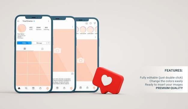 Instagram mockup of profile, post and feed interfaces in smartphones with like notification in 3d rendering