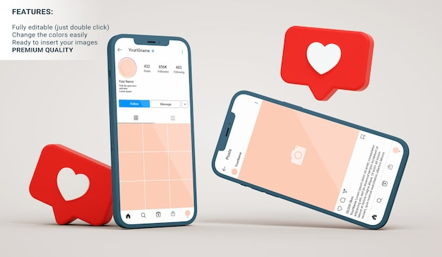 Instagram mockup of profile and post interfaces on smartphones with like notifications in 3d rendering