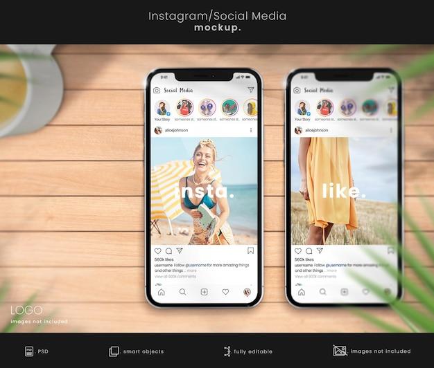두 대의 스마트폰이 있는 instagram 모형
