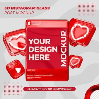 Instagram на стеклянном посте формат рендеринга