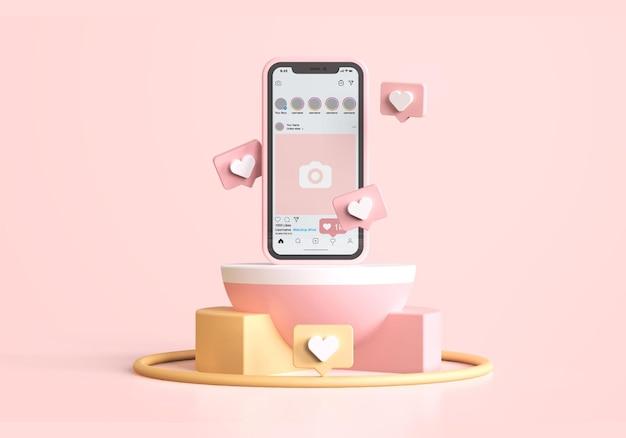 Instagram на розовом мокапе мобильного телефона