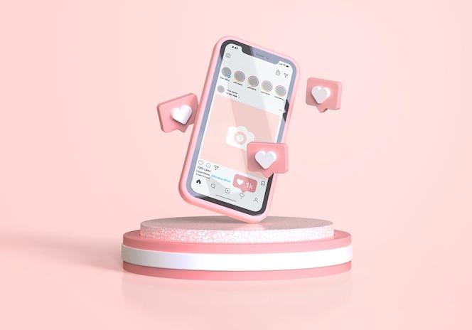 ピンクの携帯電話のモックアップのinstagram