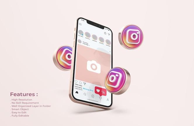 Instagram на макете мобильного телефона из розового золота