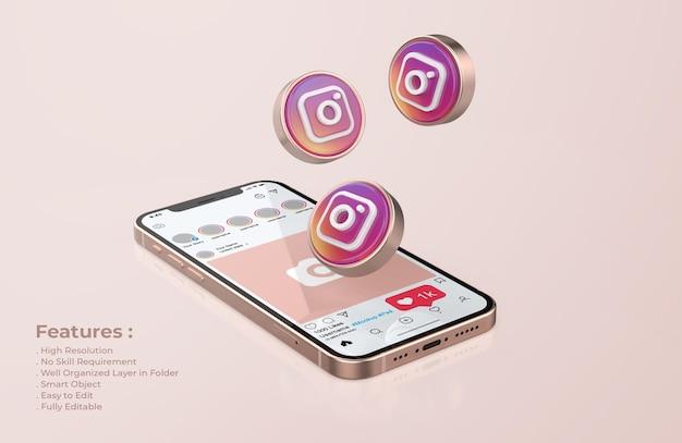 Rose gold 휴대폰 모형의 instagram