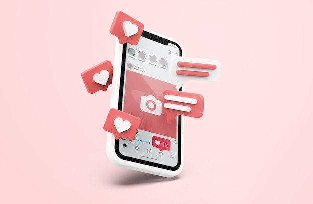 3d 아이콘이있는 흰색 휴대 전화 모형의 instagram