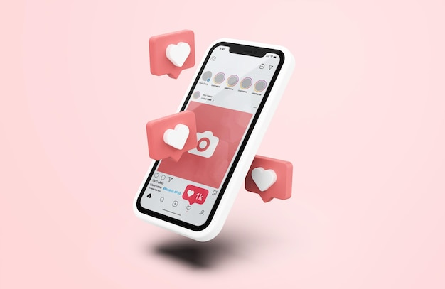 Instagram на белом макете мобильного телефона с 3d-иконами