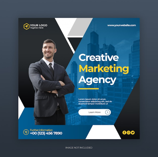 Instagram post or ads banner template with creative digital business marketing concept
