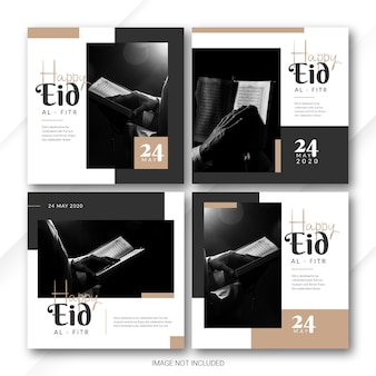 Instagram post banner bundle eid al fitr mubarak template