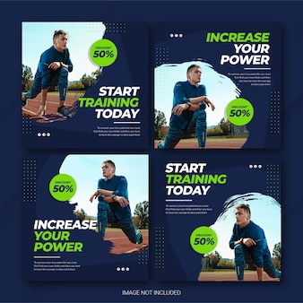 Instagram post bundle athlete sports template