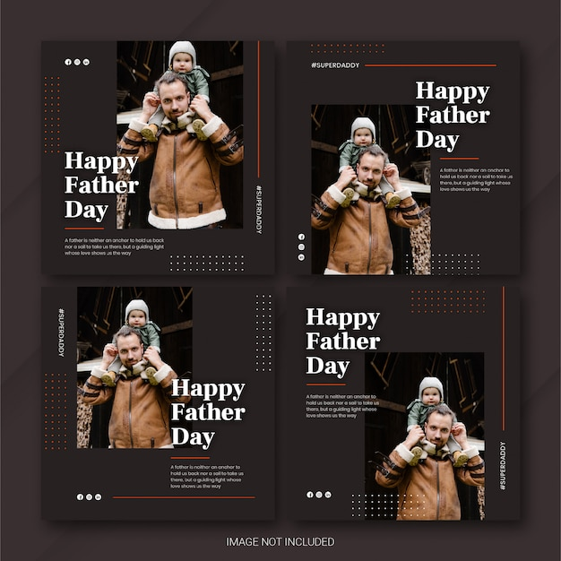 Instagram post bundle father's day template