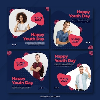 Instagram post bundle for international youth day