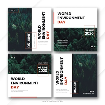Instagram post bundle world environment day template