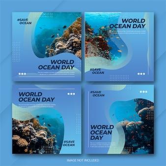 Instagram post bundle 세계 해양의 날 템플릿