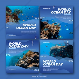 Instagram post bundle world oceans day template