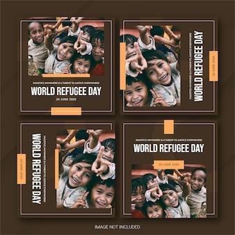 Instagram post bundle 세계 난민의 날 템플릿