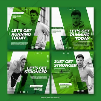 Instagram post bundle спортсмен спортивный шаблон