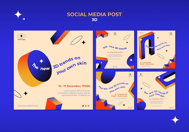 Raccolta di post su instagram per le tendenze 3d