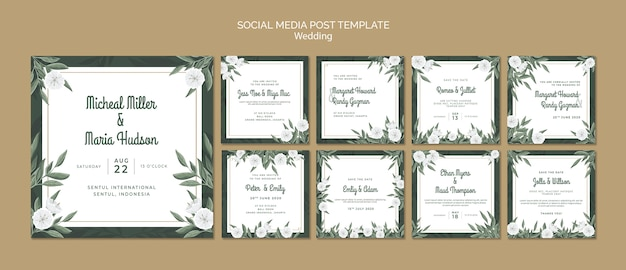 Instagram post collection with flowers for wedding Free Psd