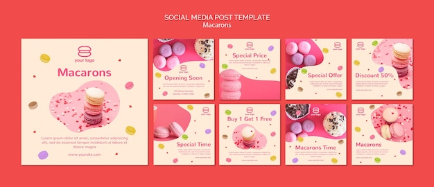 Instagram post collection with macarons