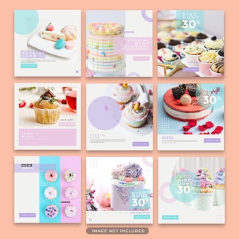 Instagram post dessert and cake template collection premium psd