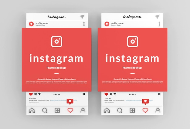 Instagram 포스트 프레임 인터페이스 모형
