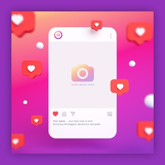 Instagram post mockup 3d with heart icons