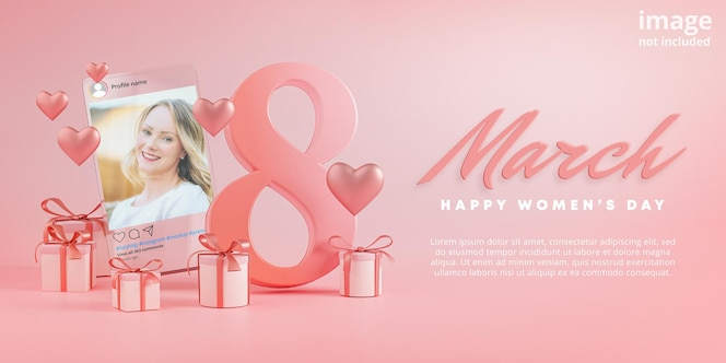 Instagram post mockup 8 march happy women's day love heart glass