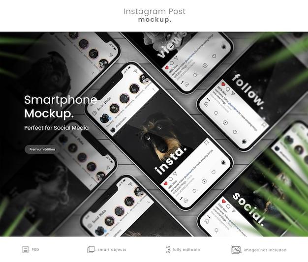 Instagram post mockup on collection of smarphones