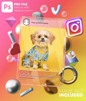 Instagram post mockup on glass frame between 3d modern shapes. on colorful background