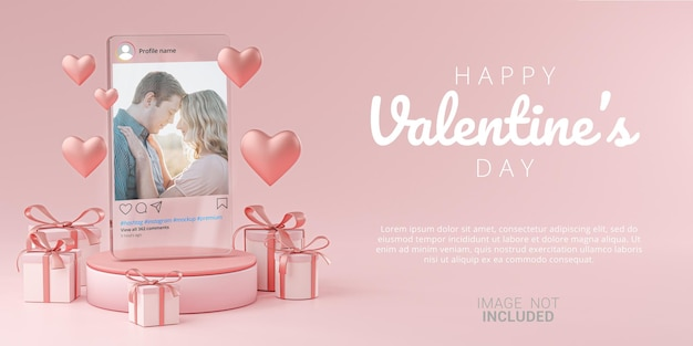 Instagram post mockup on glass template banner valentine wedding