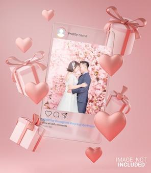유리 템플릿에 instagram 게시물 목업 발렌타인 웨딩 사랑 하트 모양 및 선물 상자 비행