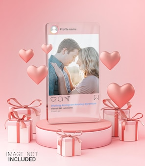 유리 템플릿에 instagram 게시물 모형 발렌타인 웨딩 사랑 하트 모양 및 선물 상자