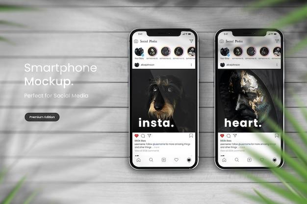 Instagram post mockup on smartphone mockup
