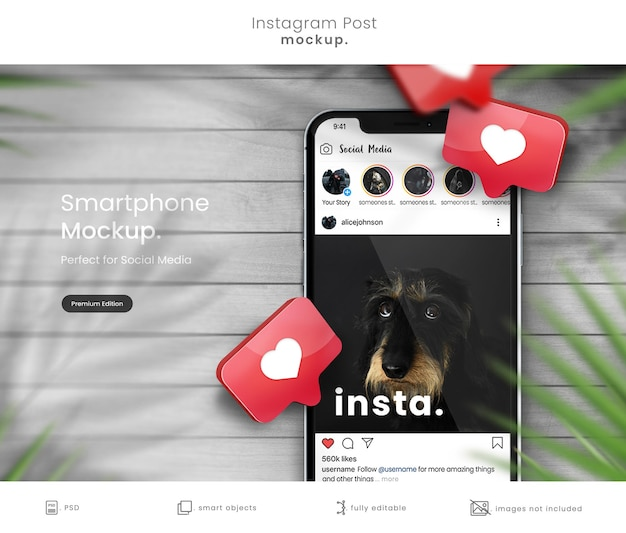 Instagram post mockup on smartphone with 3d hearts