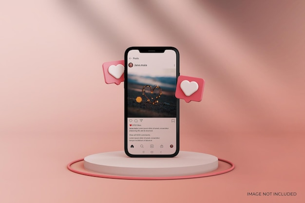 Instagram post mockup on smartphone