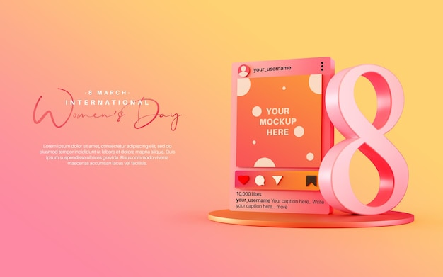 Instagram post mockup with eight number for international women day celebration