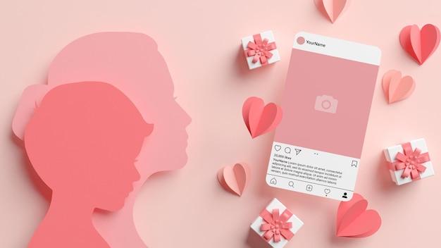엄마와 아들 Papercut 실루엣으로 Instagram 게시물 모형 프리미엄 PSD 파일