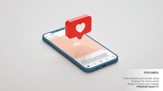 Макет публикации в instagram с телефоном на нейтральном фоне и плавающим уведомлением. 3d рендеринг