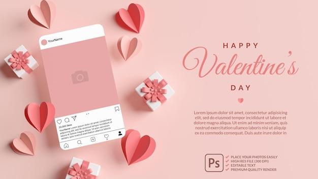 ピンクのハートと3dレンダリングでバレンタインデーのギフトとinstagramの投稿モックアップ