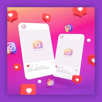 Instagram post mockups 3d with heart and instagram icons